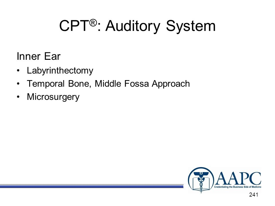 CPT®: Auditory System Inner Ear Labyrinthectomy