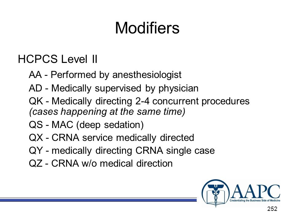 Modifiers HCPCS Level II AA - Performed by anesthesiologist
