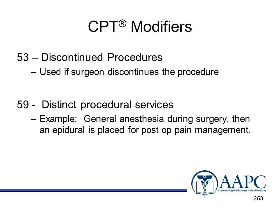 CPT® Modifiers 53 – Discontinued Procedures