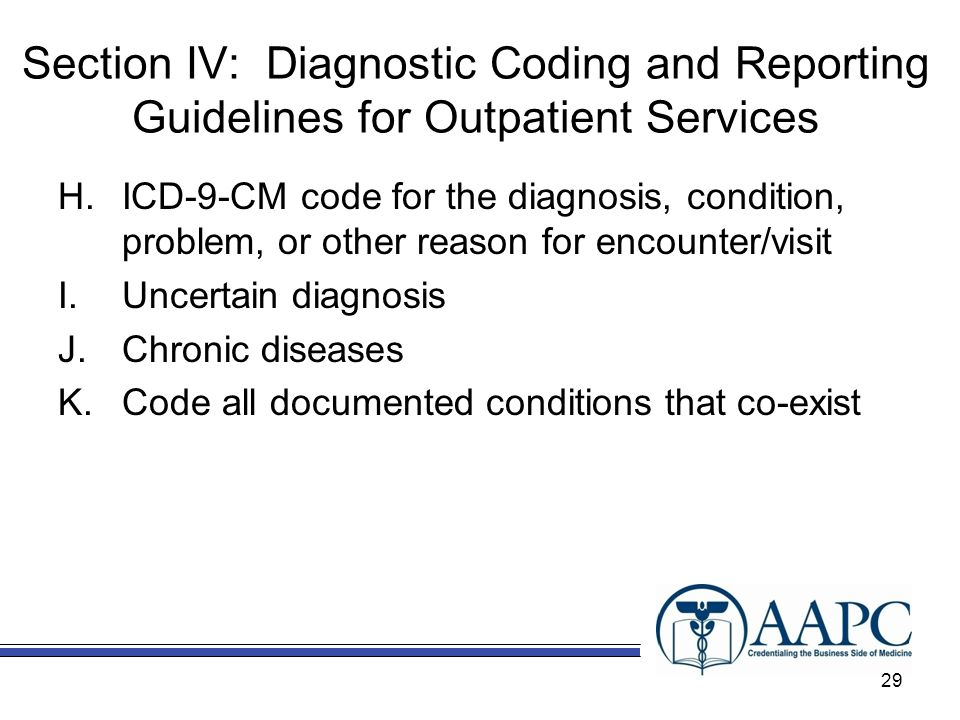 Section IV: Diagnostic Coding and Reporting Guidelines for Outpatient Services