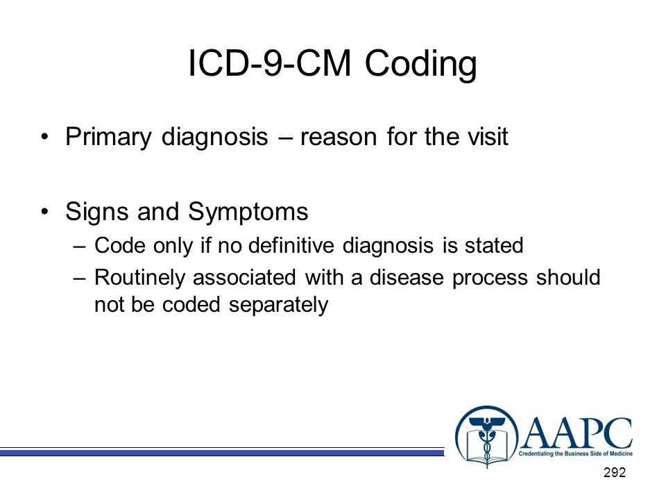 ICD-9-CM Coding Primary diagnosis – reason for the visit