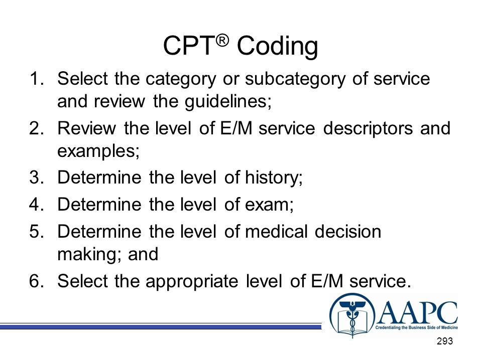 CPT® Coding Select the category or subcategory of service and review the guidelines; Review the level of E/M service descriptors and examples;