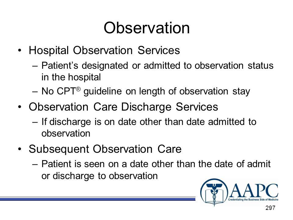 Observation Hospital Observation Services