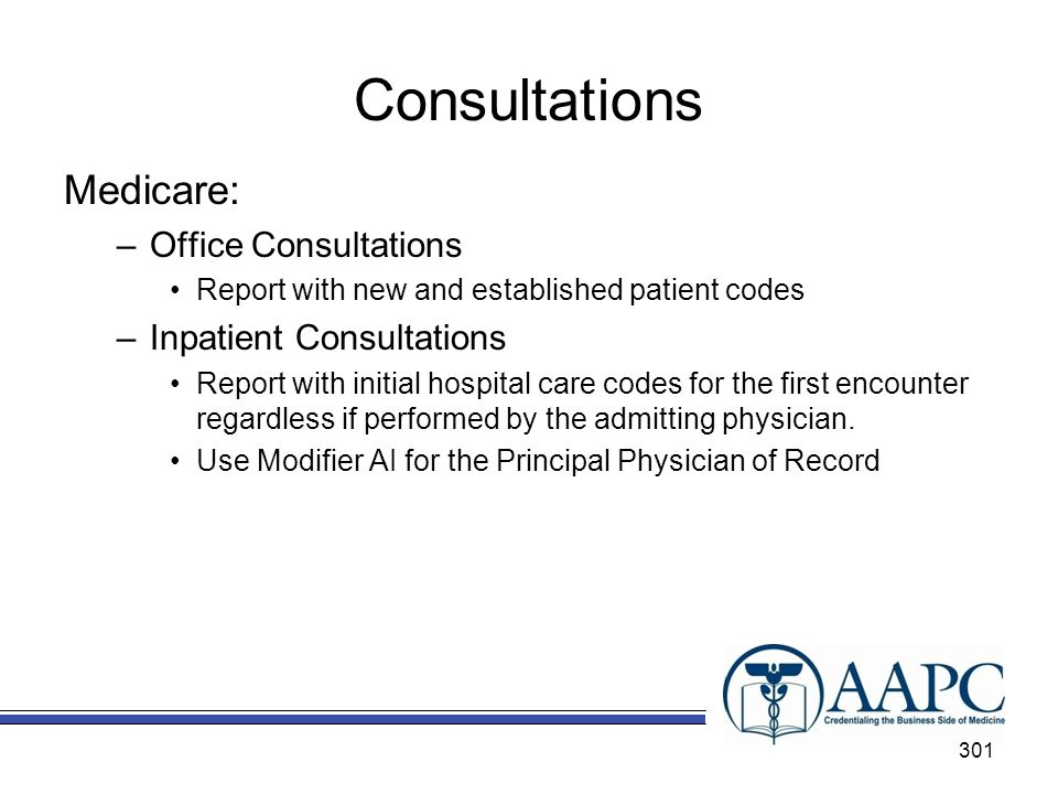 Consultations Medicare: Office Consultations Inpatient Consultations