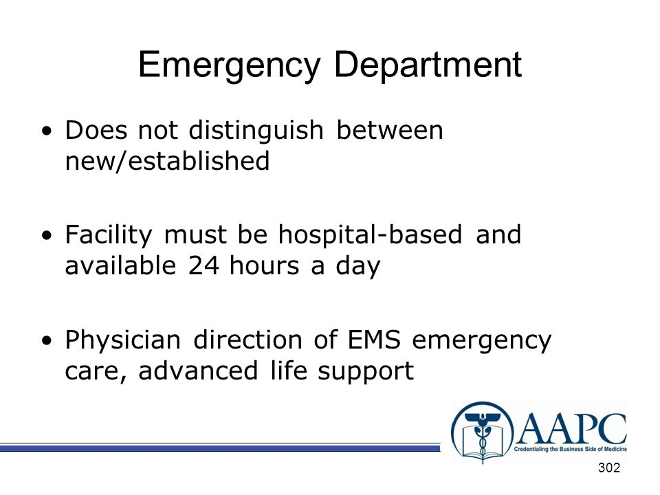 Emergency Department Does not distinguish between new/established