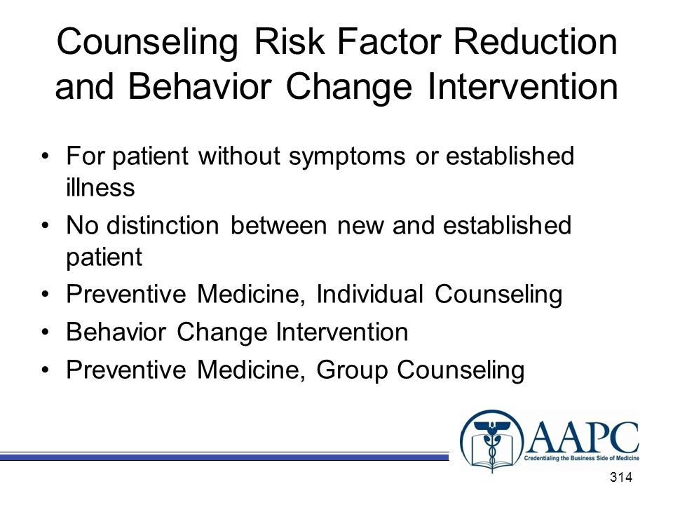 Counseling Risk Factor Reduction and Behavior Change Intervention