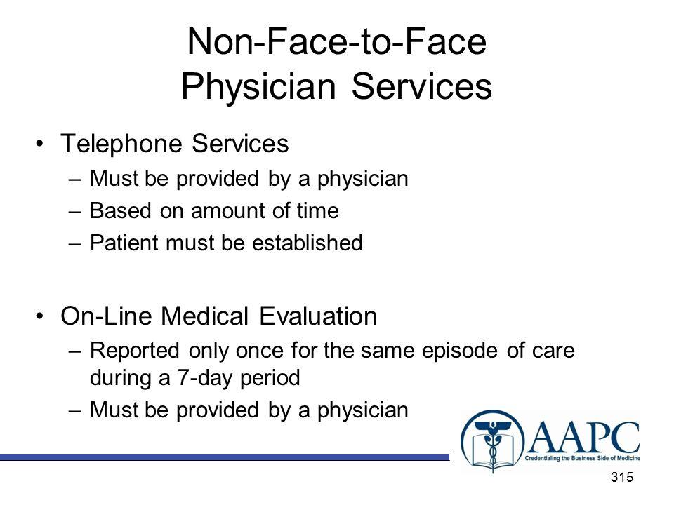 Non-Face-to-Face Physician Services