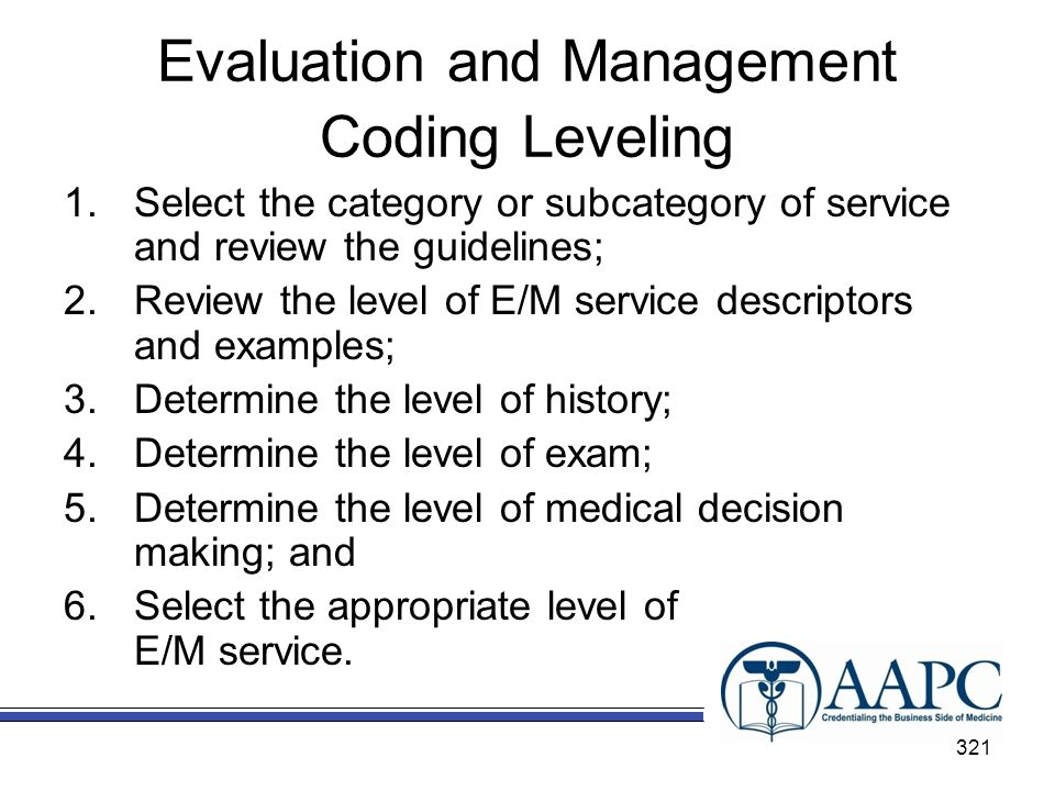 Evaluation and Management Coding Leveling
