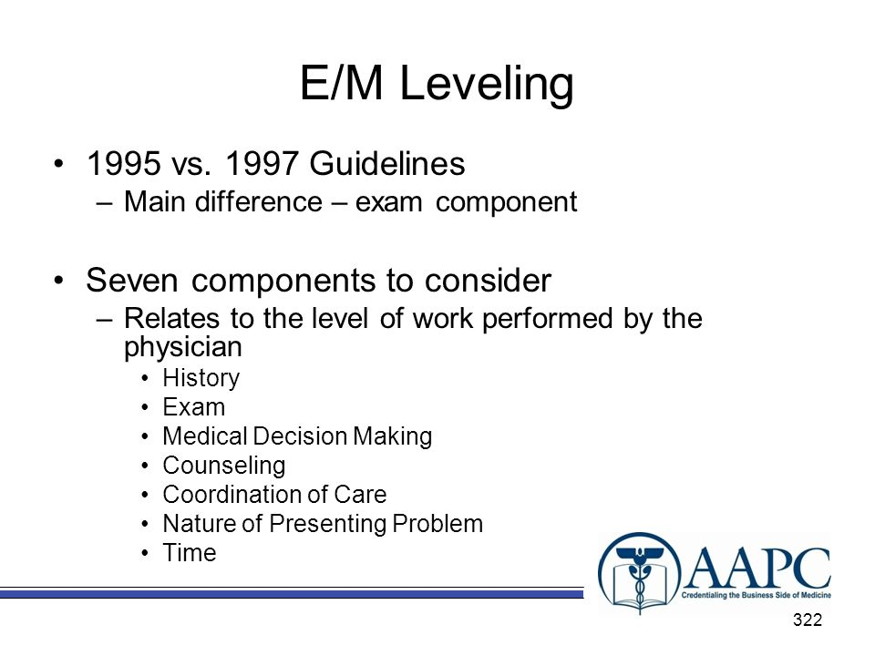 E/M Leveling 1995 vs Guidelines Seven components to consider
