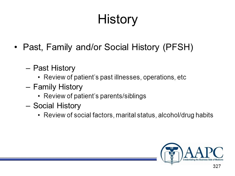 History Past, Family and/or Social History (PFSH) Past History
