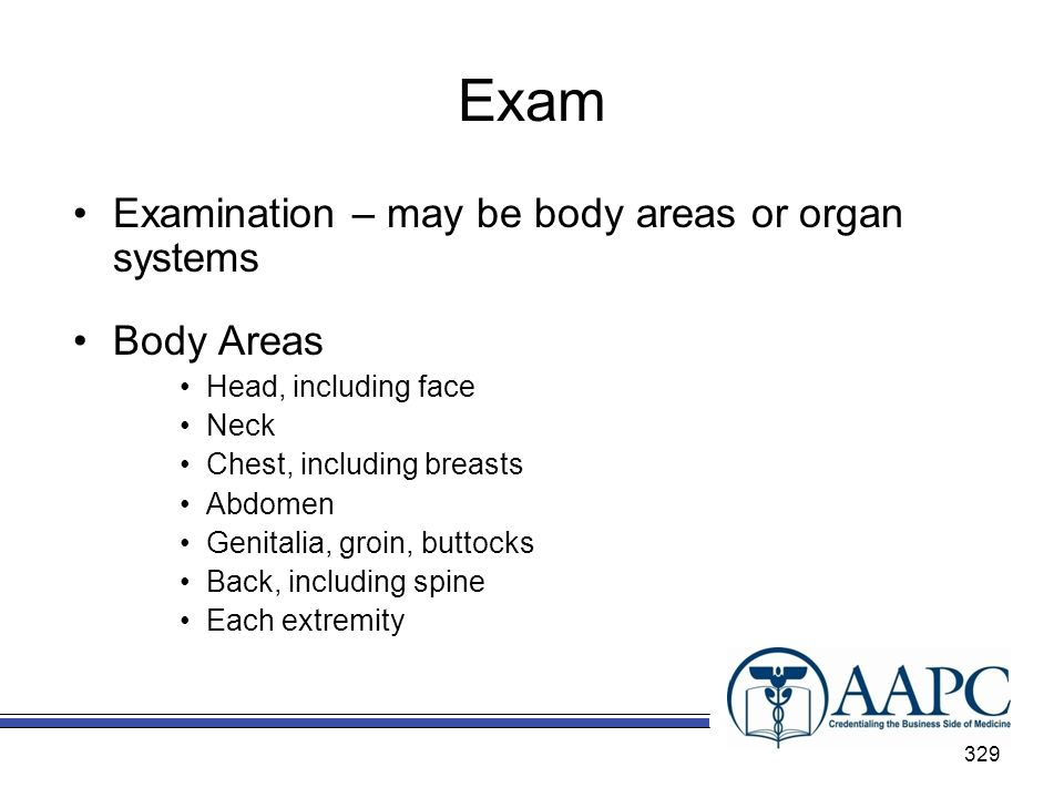 Exam Examination – may be body areas or organ systems Body Areas
