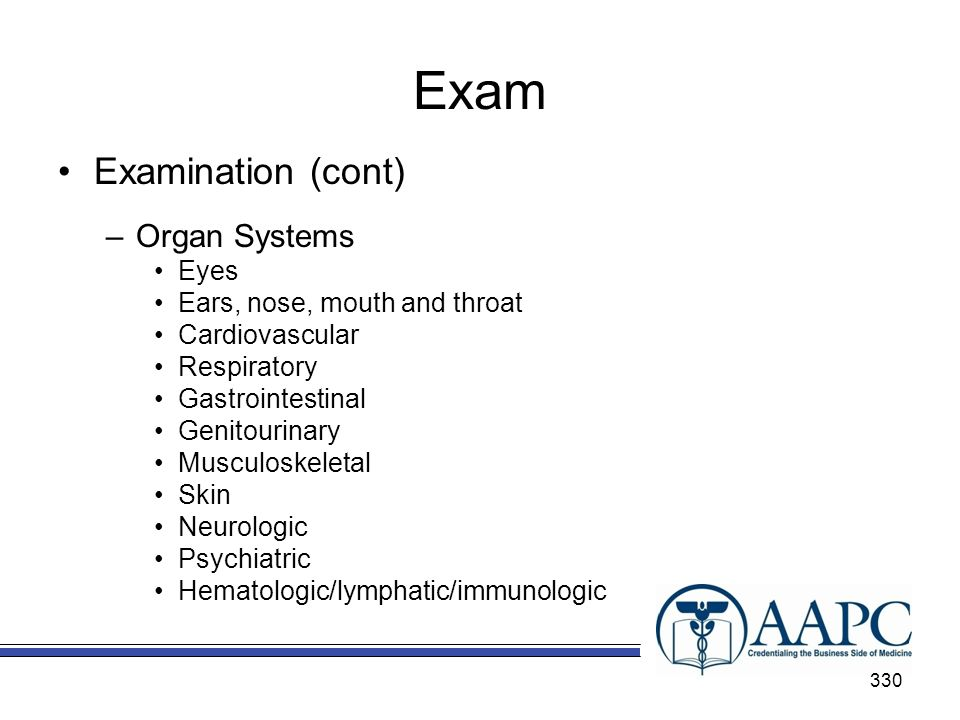 Exam Examination (cont) Organ Systems Eyes