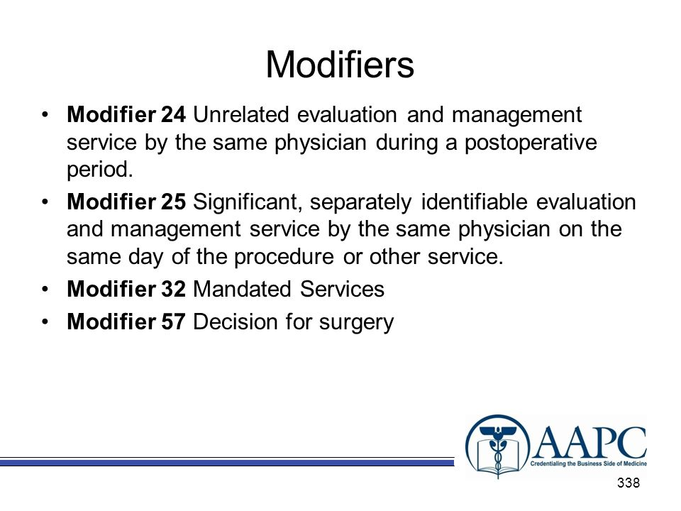 Modifiers Modifier 24 Unrelated evaluation and management service by the same physician during a postoperative period.