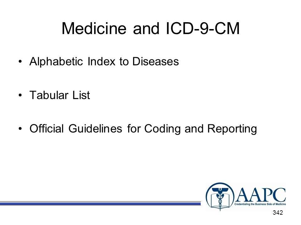 Medicine and ICD-9-CM Alphabetic Index to Diseases Tabular List
