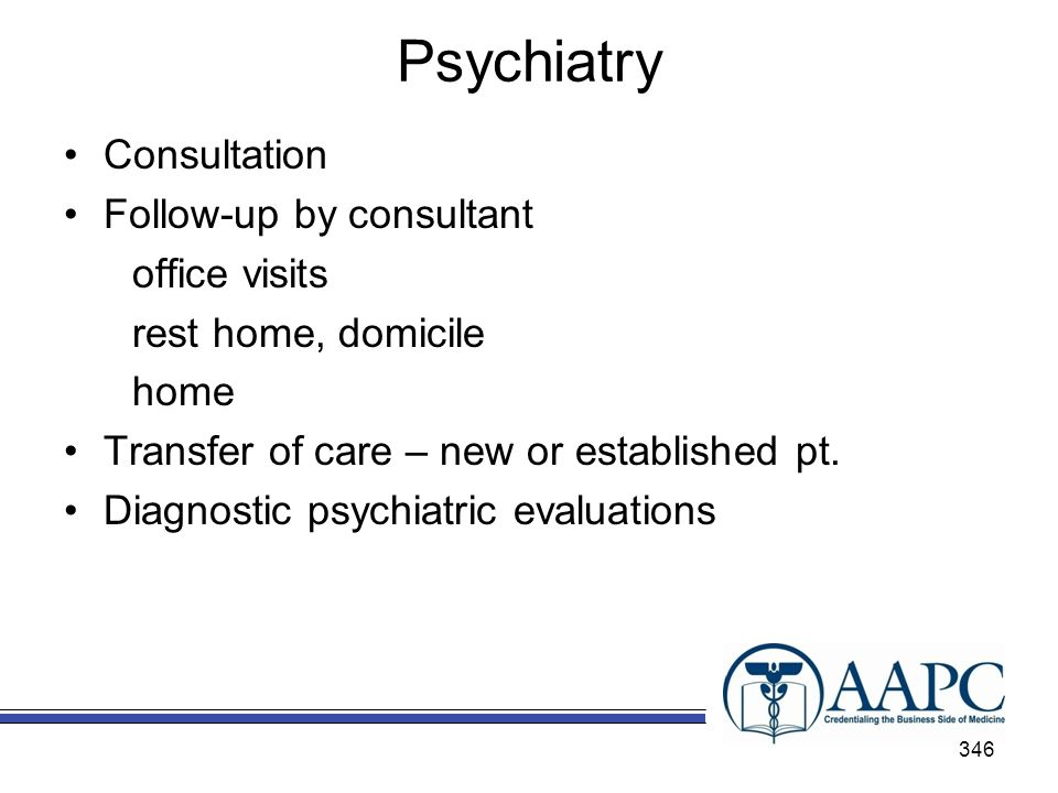 Psychiatry Consultation Follow-up by consultant office visits