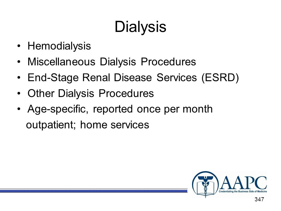 Dialysis Hemodialysis Miscellaneous Dialysis Procedures