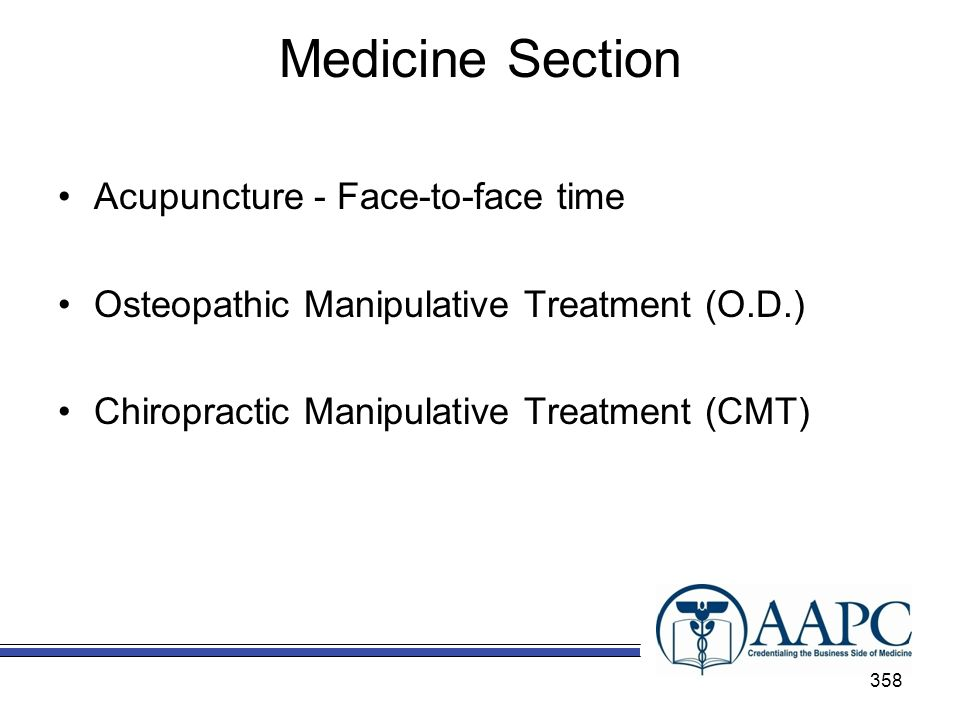 Medicine Section Acupuncture - Face-to-face time