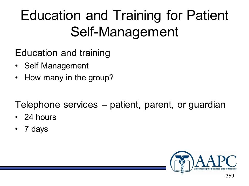 Education and Training for Patient Self-Management