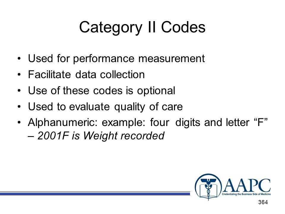 Category II Codes Used for performance measurement