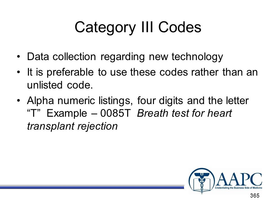 Category III Codes Data collection regarding new technology