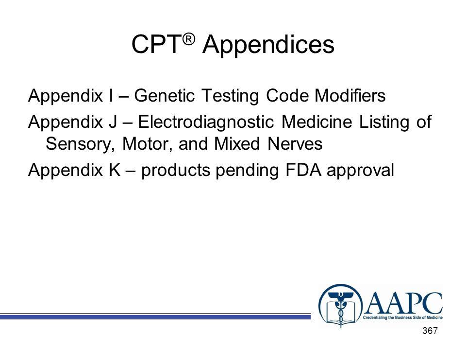 CPT® Appendices