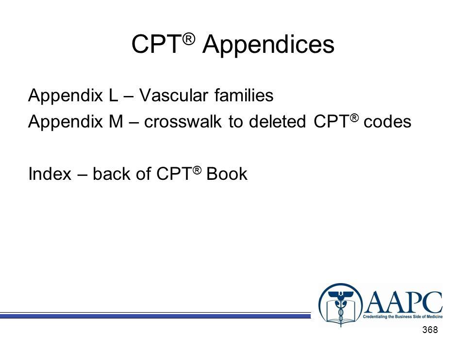CPT® Appendices Appendix L – Vascular families Appendix M – crosswalk to deleted CPT® codes Index – back of CPT® Book
