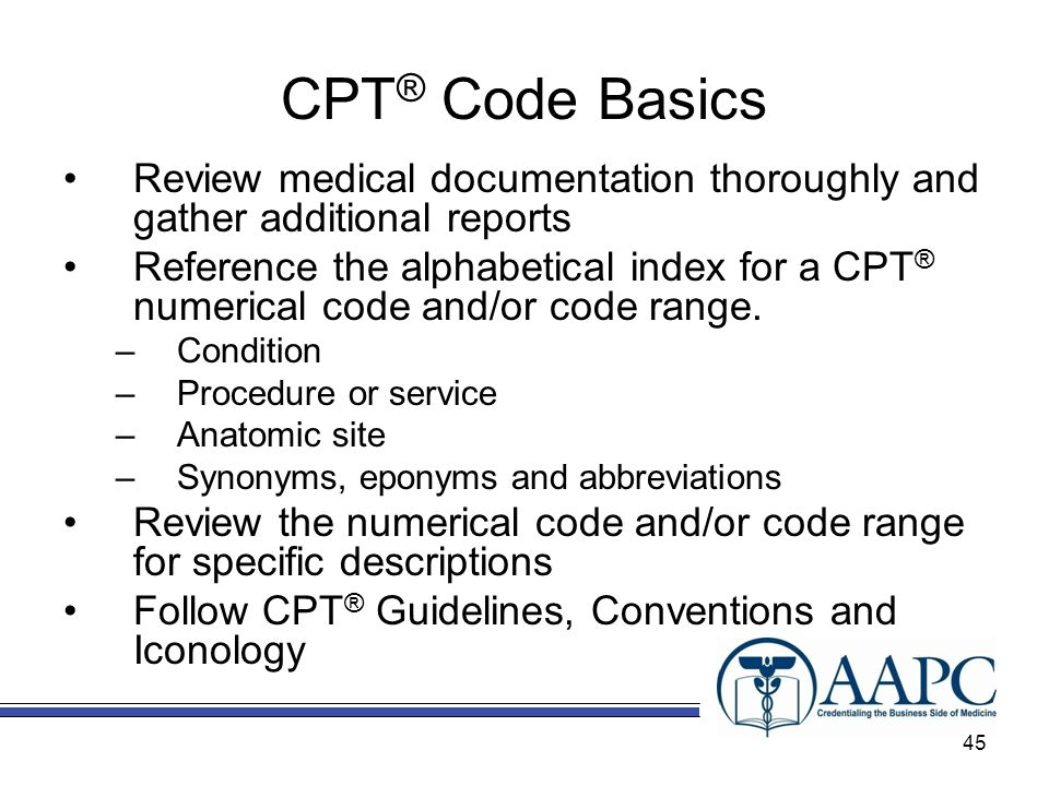CPT® Code Basics Review medical documentation thoroughly and gather additional reports.