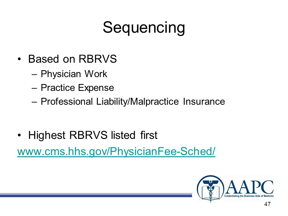 Sequencing Based on RBRVS Highest RBRVS listed first