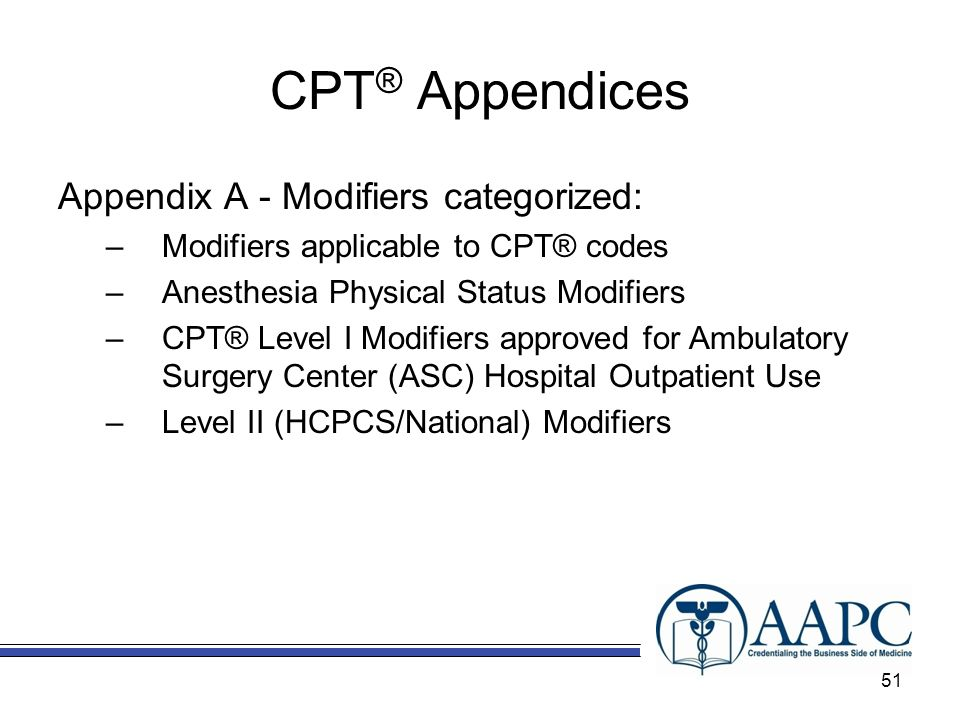 CPT® Appendices Appendix A - Modifiers categorized: