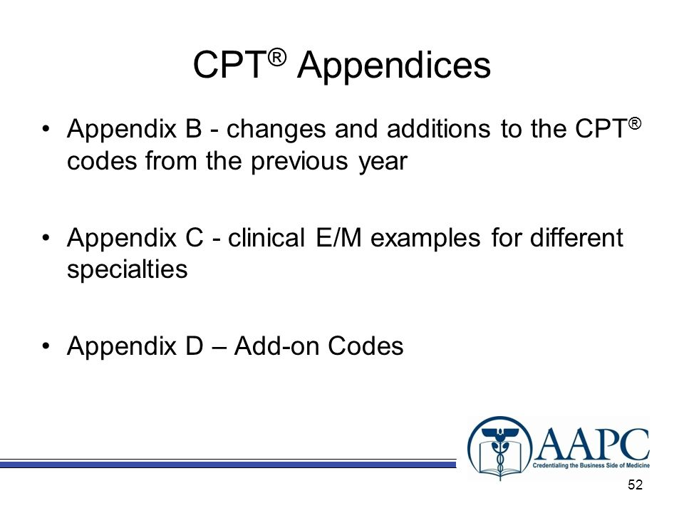 CPT® Appendices Appendix B - changes and additions to the CPT® codes from the previous year.