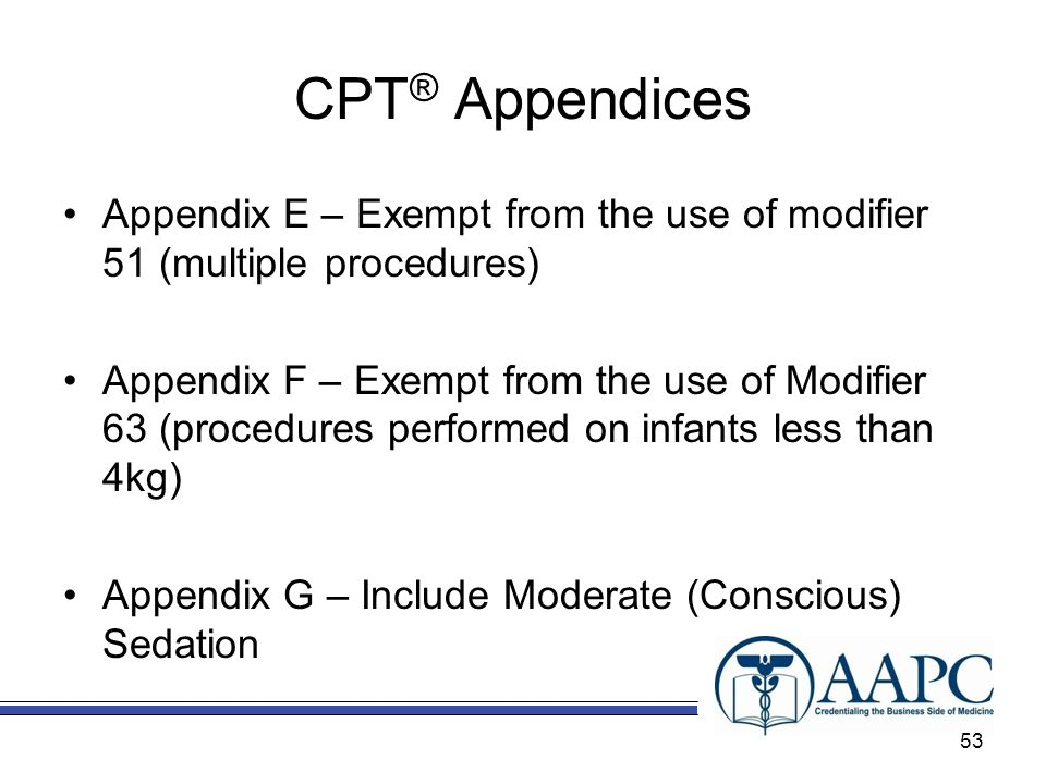 CPT® Appendices Appendix E – Exempt from the use of modifier 51 (multiple procedures)