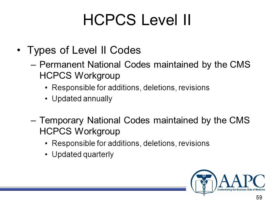 HCPCS Level II Types of Level II Codes