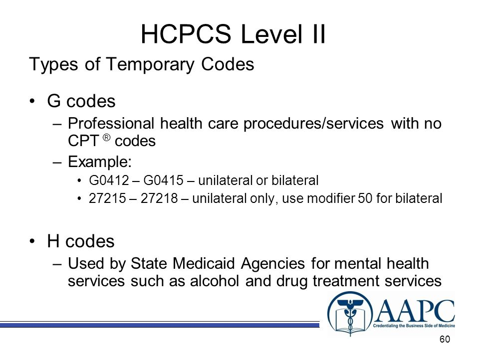 HCPCS Level II Types of Temporary Codes G codes H codes