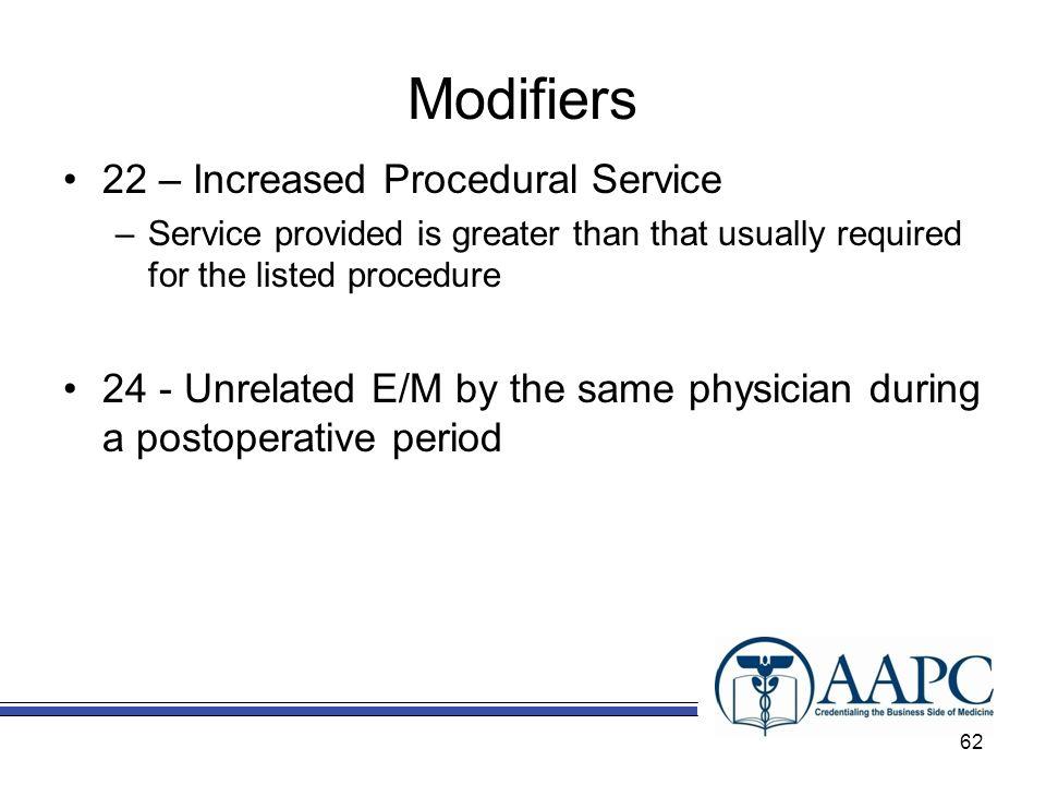 Modifiers 22 – Increased Procedural Service