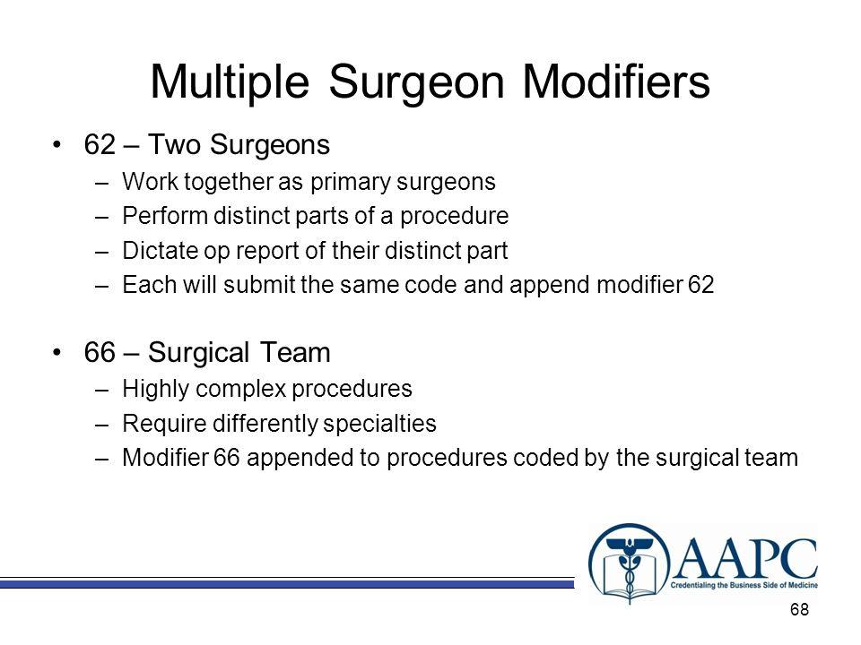 Multiple Surgeon Modifiers