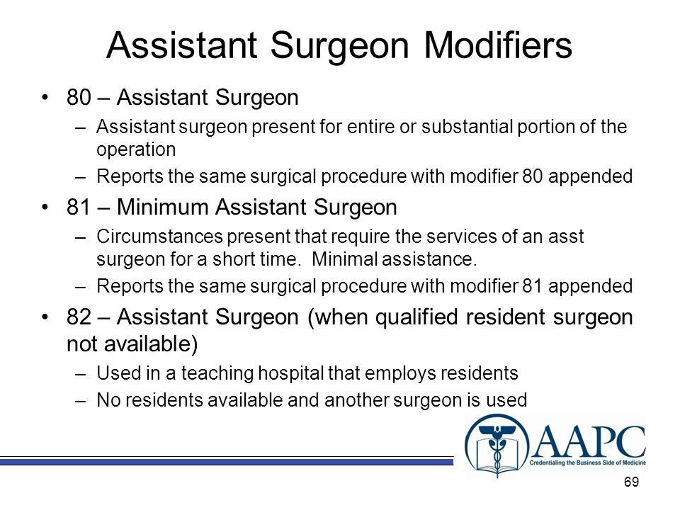 Assistant Surgeon Modifiers