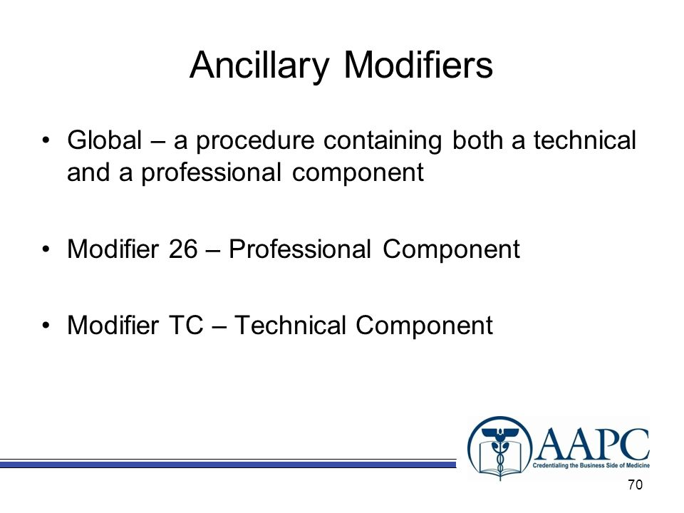 Ancillary Modifiers Global – a procedure containing both a technical and a professional component. Modifier 26 – Professional Component.