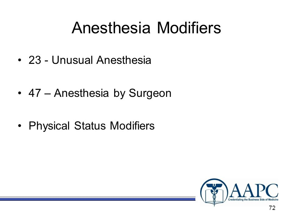 Anesthesia Modifiers 23 - Unusual Anesthesia
