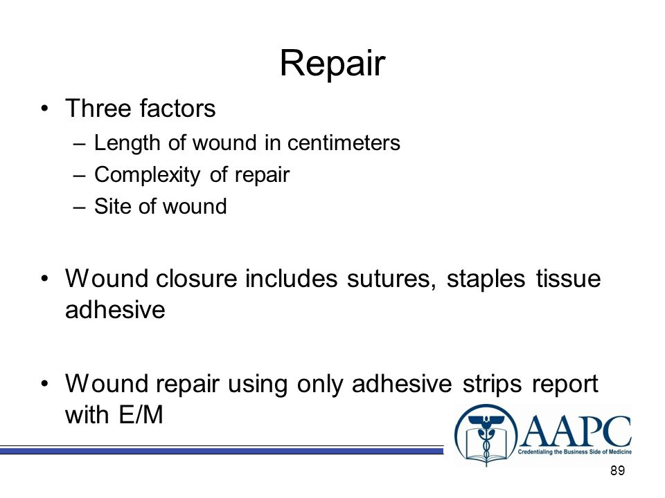 Repair Three factors. Length of wound in centimeters. Complexity of repair. Site of wound.