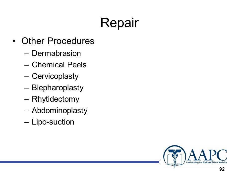 Repair Other Procedures Dermabrasion Chemical Peels Cervicoplasty