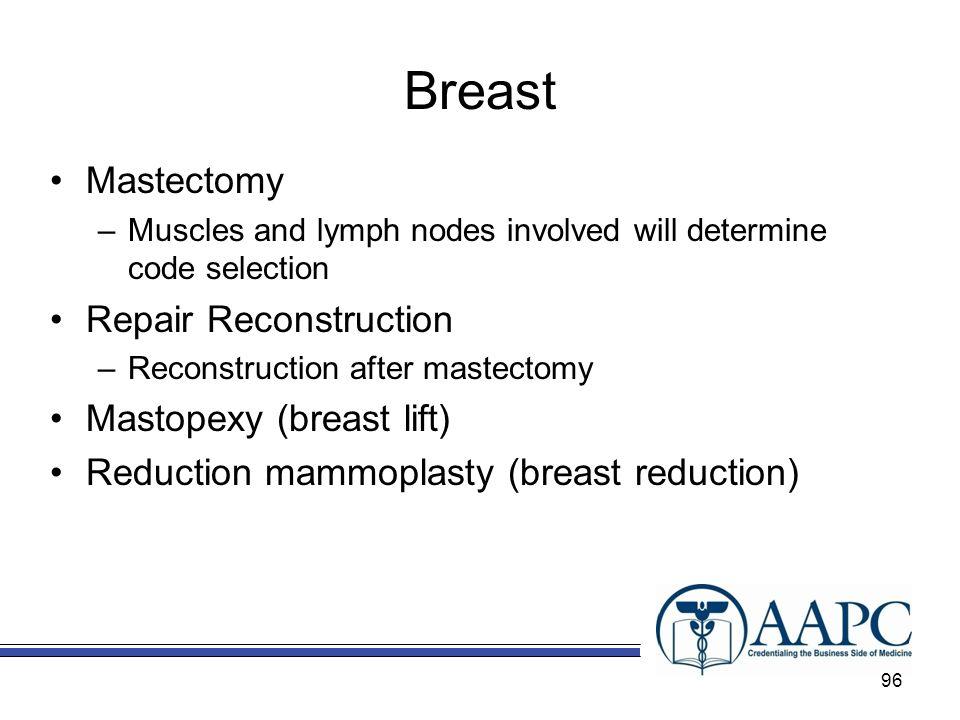 Breast Mastectomy Repair Reconstruction Mastopexy (breast lift)