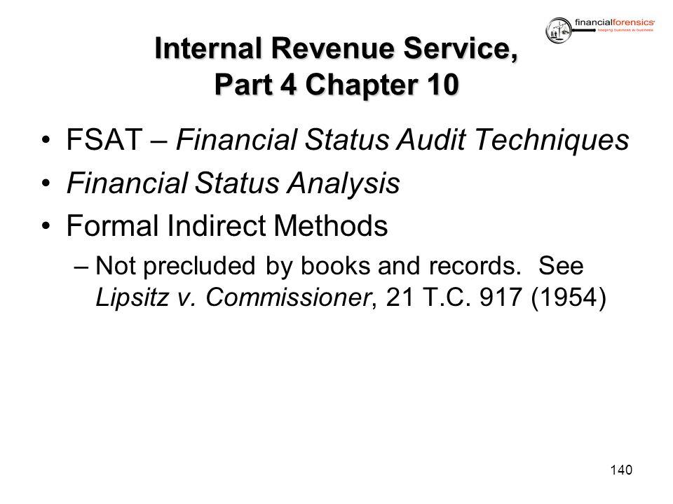 Internal Revenue Service, Part 4 Chapter 10