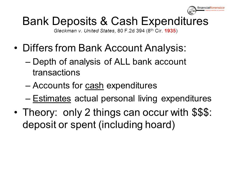 Bank Deposits & Cash Expenditures Gleckman v. United States, 80 F