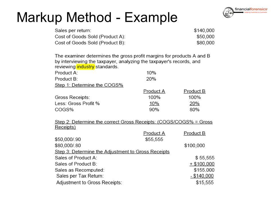 Markup Method - Example