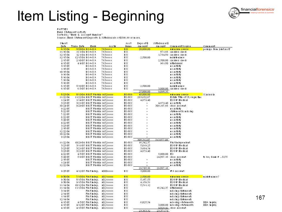 Item Listing - Beginning