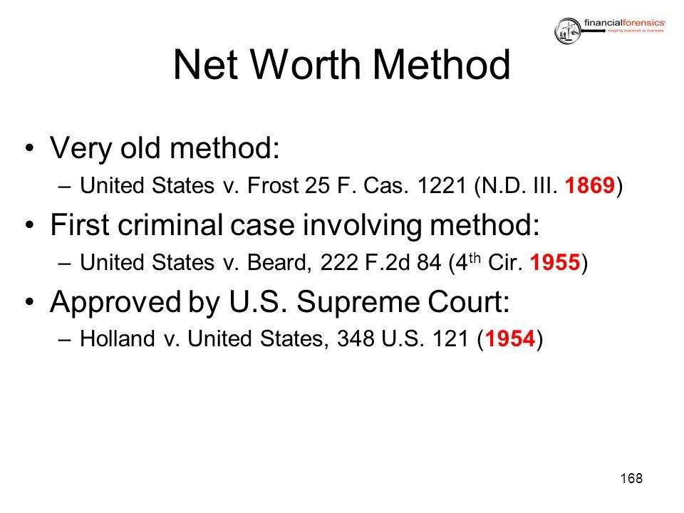 Net Worth Method Very old method: