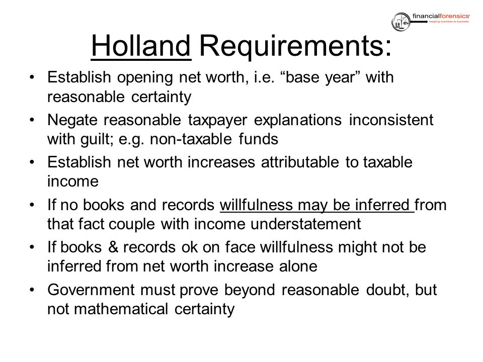 Holland Requirements: