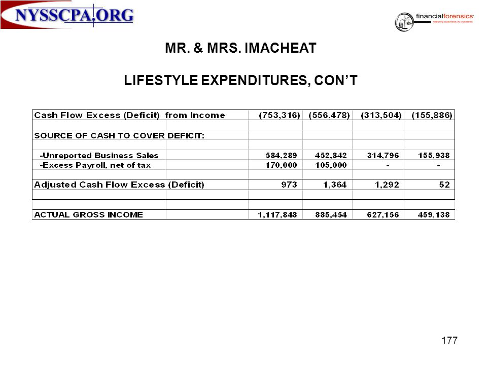 LIFESTYLE EXPENDITURES, CON'T