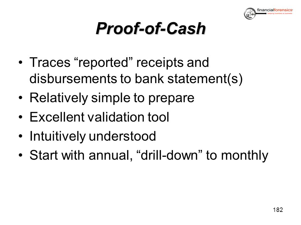 Proof-of-Cash Traces reported receipts and disbursements to bank statement(s) Relatively simple to prepare.