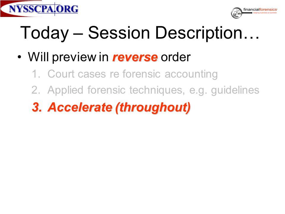 Today – Session Description…